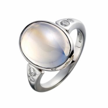 18ct White Gold Moonstone & Brilliant Cut Diamond Set Ring. Design No. 1V33A