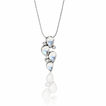 18ct White Gold Moonstone & Diamond Pendant. Design No. 1U59A