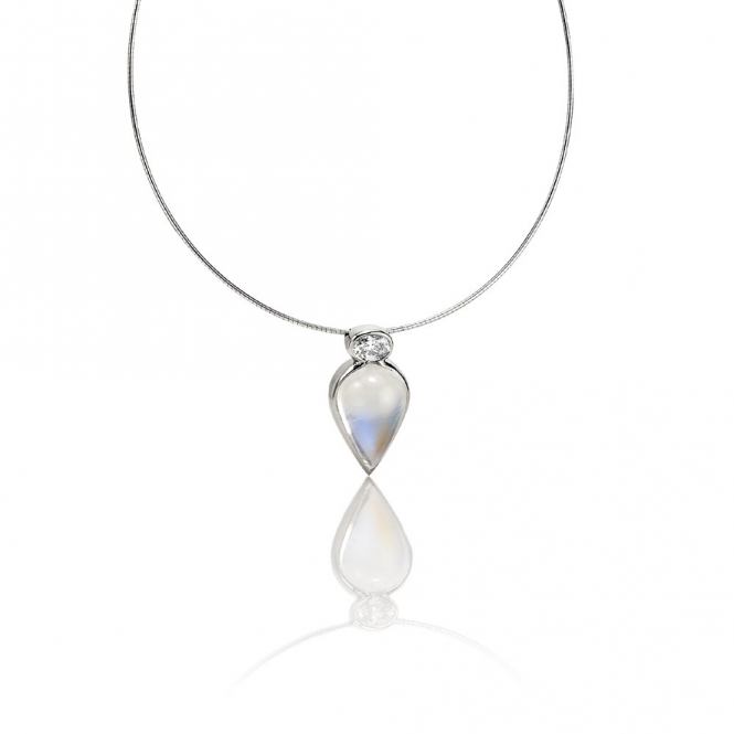 18ct White Gold Moonstone & Diamond Pendant. Design No. 1U80A.