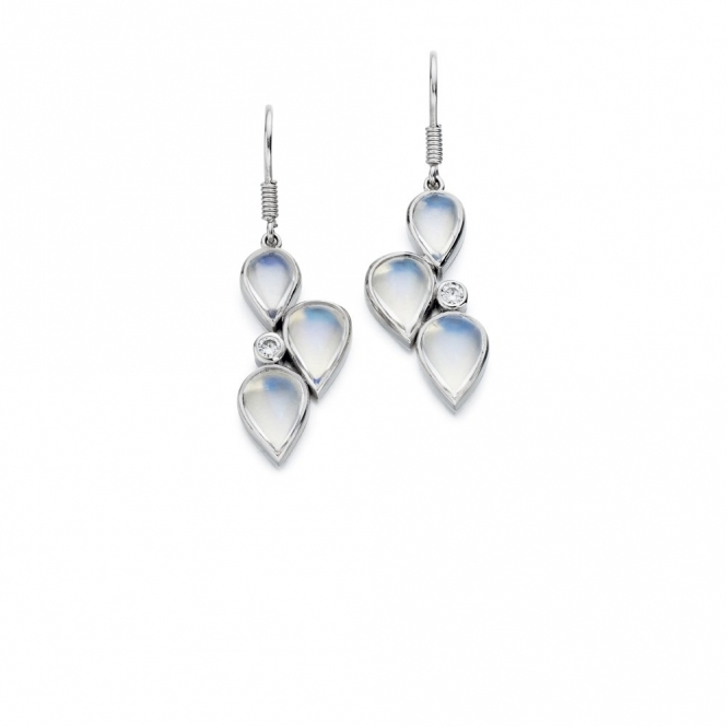 18ct White Gold Moonstone & Diamond Set Earrings. Design No. 1U59A