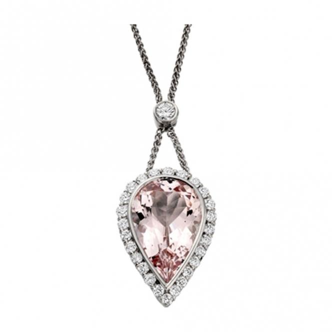 18ct White Gold Morganite and Brilliant Cut Diamond Pendant. Design no. 1W93A