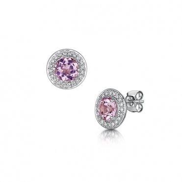 18ct White Gold Morganite & Diamond Earrings