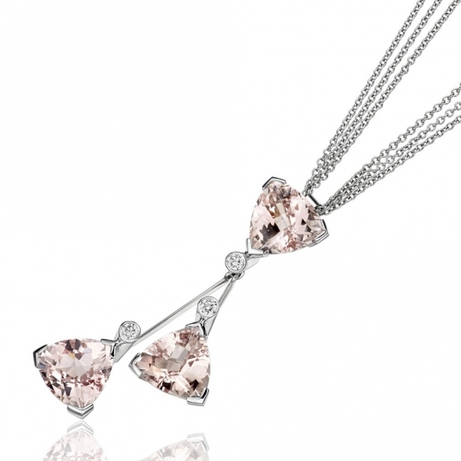 18ct White Gold Morganite & Diamond Pendant