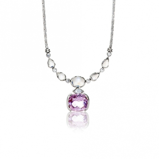 18ct White Gold Morganite Moonstone & Diamond Pendant. Design No. 1V25A