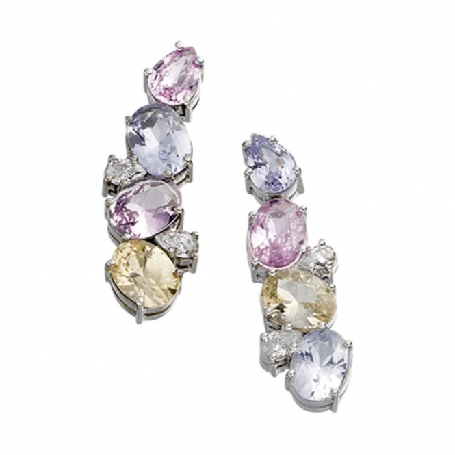 18ct White Gold Multi Coloured Sapphire and Diamond Earrings. Design no. 1W90A