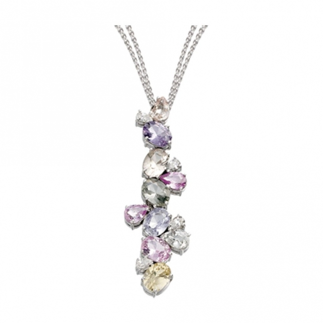 18ct White Gold Multi Coloured Sapphire and Diamond Pendant. Design no. 1W90A