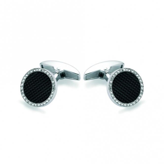 18ct White Gold & Onyx Hobnail Diamond Set Round Cufflinks