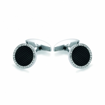 18ct White Gold & Onyx Hobnail Diamond Set Round Cufflinks