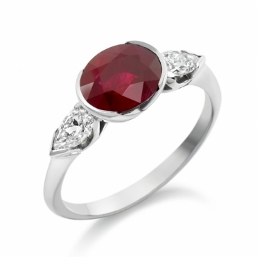 18ct White Gold Oval Ruby and Pear Shaped Diamond Ring