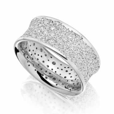 18ct White Gold Pave Set Diamond Ring