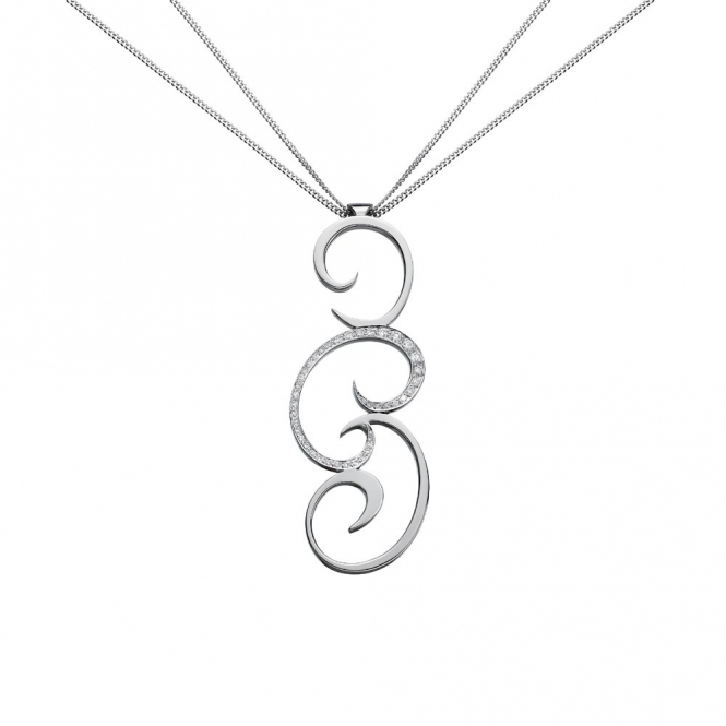 18ct White Gold & Pave Set Diamond Swirl Pendant