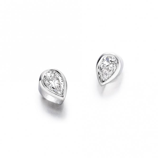 18ct White Gold Pear Shaped Diamond Set Earrings. Design No. 1U03A