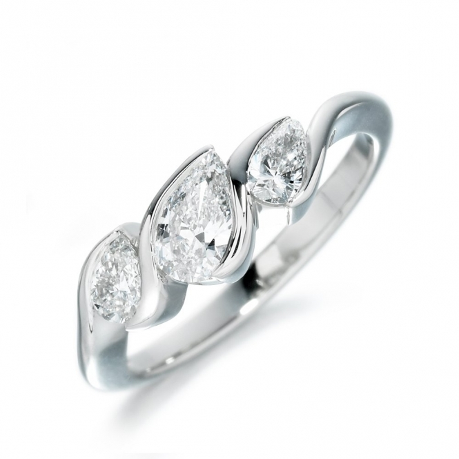 18ct White Gold Pear Three Stone Ring 1T66A