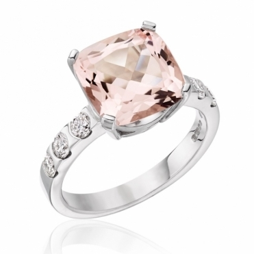 18ct White Gold Pink Morganite and Brilliant Cut Diamond Ring