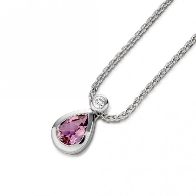 18ct White Gold Pink Sapphire & Diamond Pendant 1P46A