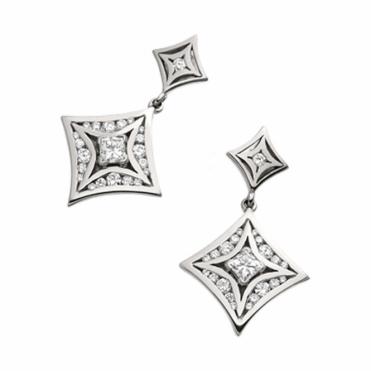18ct White Gold Princess and Brilliant Cut Diamond Drop Earrings. Design no. 1W14A