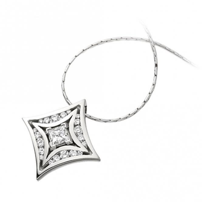 18ct White Gold Princess and Brilliant Cut Diamond Pendant. esign no. 1W14A