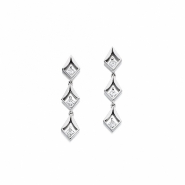 18ct White Gold Princess Cut Diamond Set Earrings. Design No. 1V15A