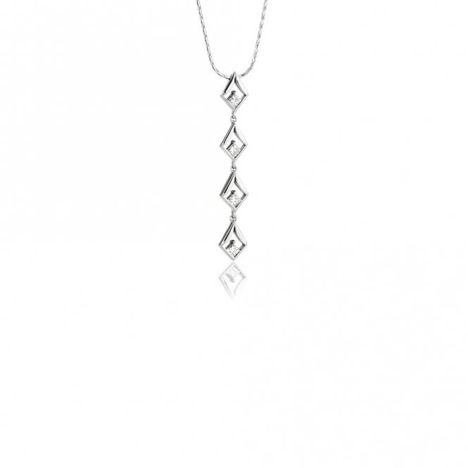 18ct White Gold Princess Cut Diamond Set Pendant. Design No. 1V15A