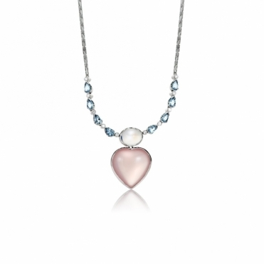 18ct White Gold Rose Quartz, Moonstone, Aquamarine & Diamond Pendant. Design No. 1V28A