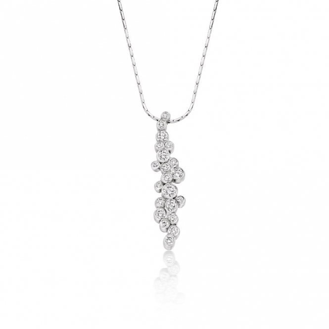 18ct White Gold Rubover Set Brilliant Cut Diamond Pendant