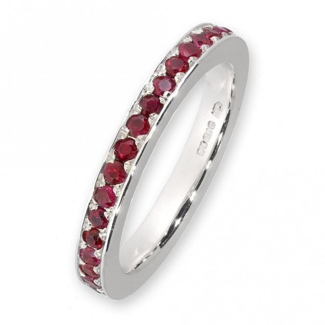 18ct white gold ruby full eternity ring
