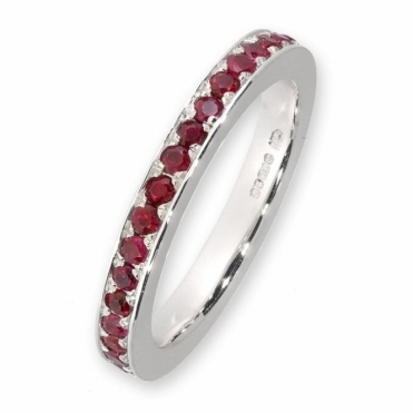 18ct white gold ruby full eternity ring