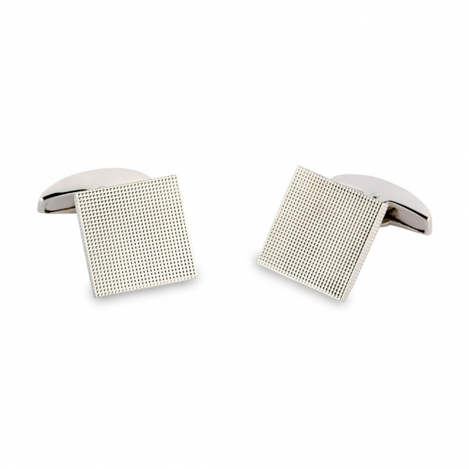 18ct White Gold Square Hobnail T-Bar Cufflinks