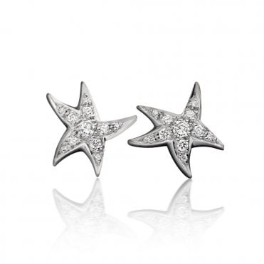 18ct White Gold Starfish Diamond Pave Set Earrings 0.19ct Total