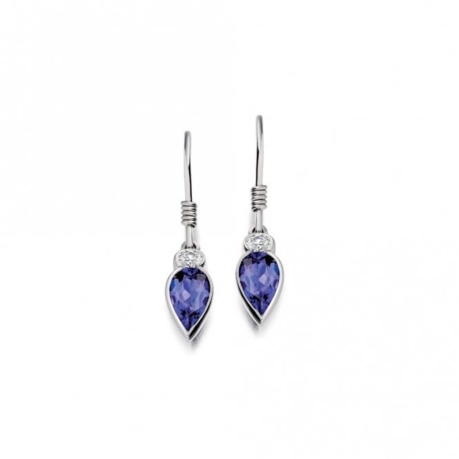 18ct White Gold Tanzanite & Diamond Earrings. Design No. 1U80A