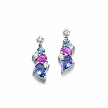18ct White Gold Tanzanite, Pink Sapphire, Aquamarine & Diamond Set Earrings. Design No. 1U42A
