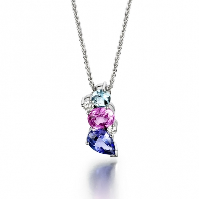 18ct White Gold Tanzanite, Pink Sapphire, Aquamarine & Diamond Set Pendant. Design No. 1U42A