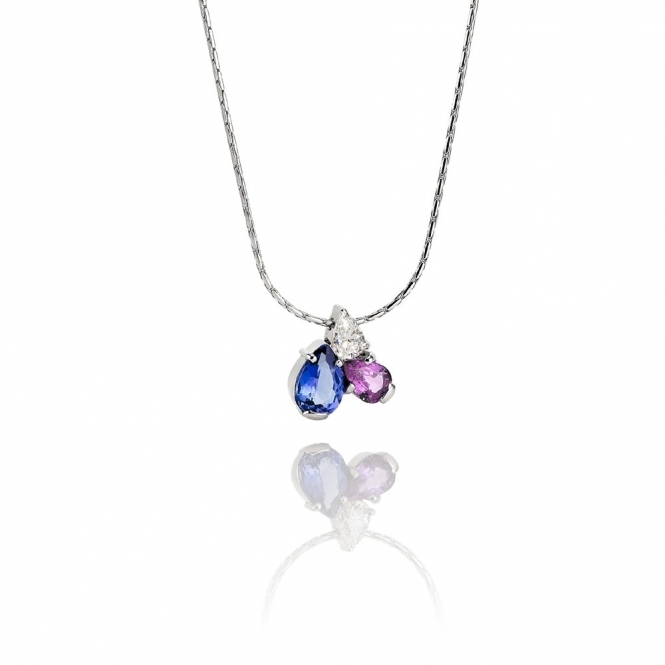 18ct white gold tanzanite pink sapphire diamond pendant mozeypictures Choice Image