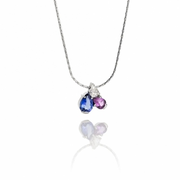 18ct White Gold Tanzanite, Pink Sapphire & Diamond Pendant. Design No. 1U61A