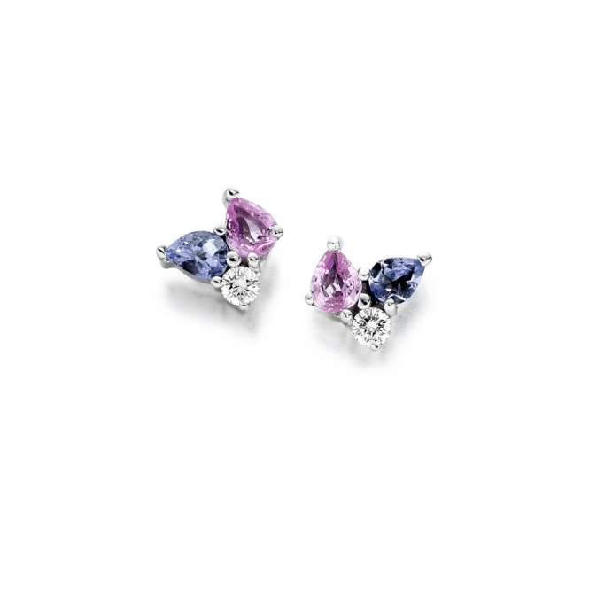 18ct White Gold Tanzanite, Pink Sapphire & Diamond Set Earrings. Design No. 1U30A