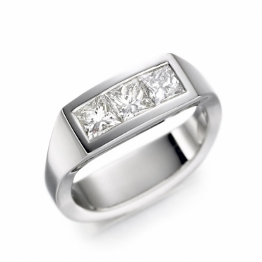 18ct White Gold Three Princess Diamond Ring 1T21A