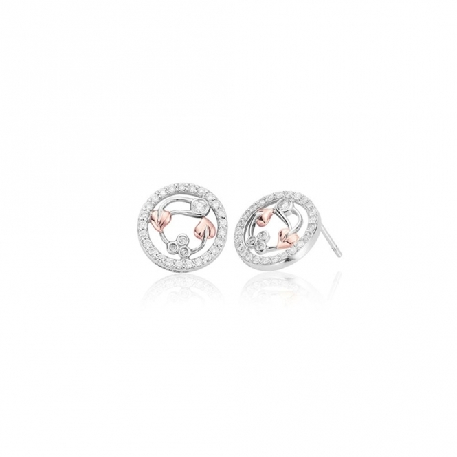 18ct White Gold Tree of Life Diamond Stud Earrings