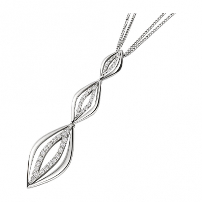 18ct White Gols and Brilliant Cut Diamond Pendant. Design no. 1W81A
