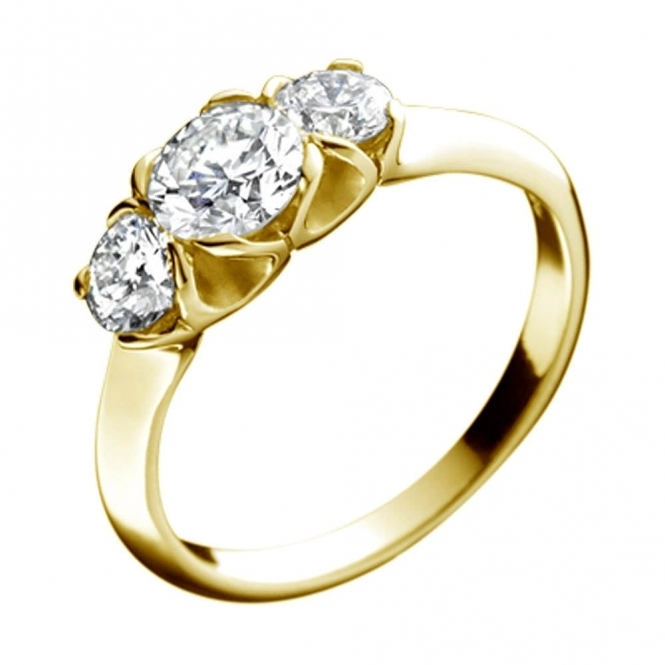 18ct Yellow Gold 3 Stone brilliant Cut Diamond Ring