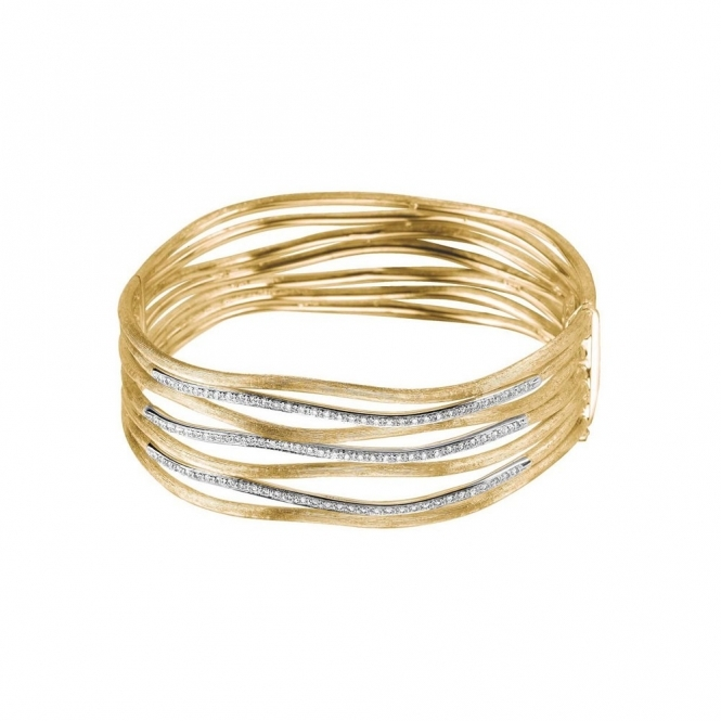 18ct Yellow Gold 7 Bar Diamond Jaipur Links Bangle