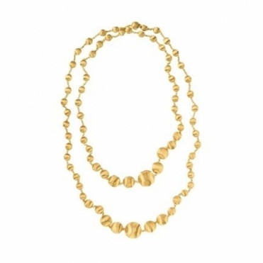 18ct Yellow Gold Africa Graduating Bead Necklace