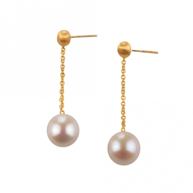 18ct Yellow Gold Africa Pearl Drop Earrings