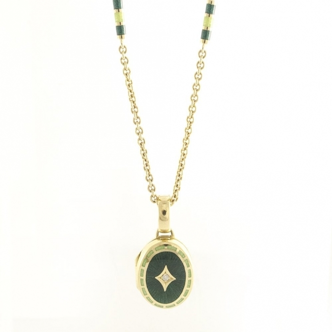 18ct Yellow Gold and Green Enamel Oval Locket and Matching Necklace