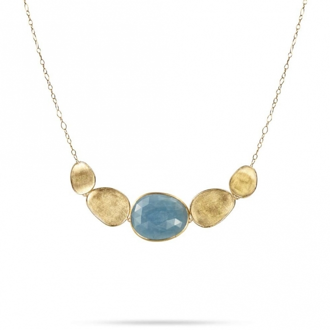 18ct Yellow Gold Aquamarine Lunaria Five Link Necklace