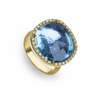 18ct Yellow Gold Blue Topaz & Diamond Jaipur Ring