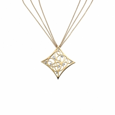 18ct Yellow Gold & Diamond Cushion Shaped Pendant