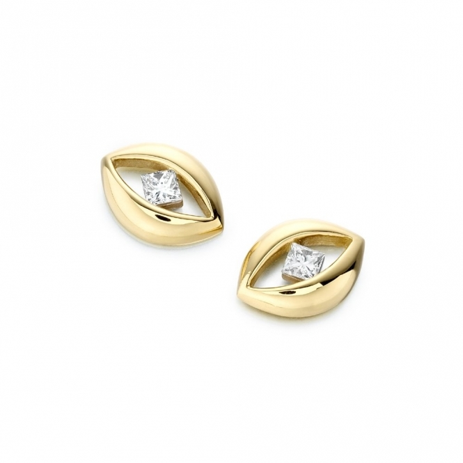 18ct Yellow Gold Diamond Set Earrings. Design No. 1T32A