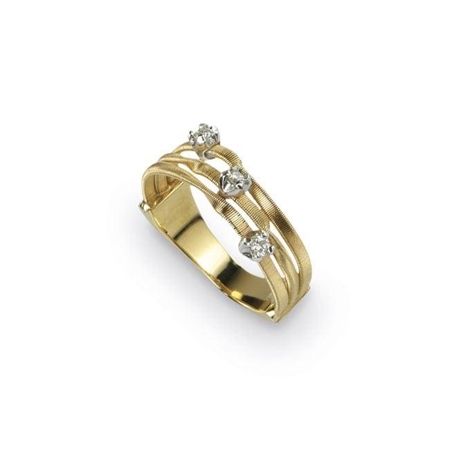 18ct Yellow Gold Diamond Set Mini Marrakech Three Strand Ring