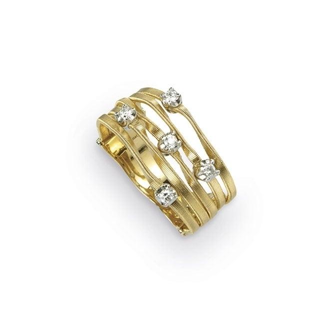 18ct Yellow Gold Diamond Set Mini Marrakesh Five Strand Ring