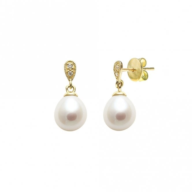 18ct Yellow Gold Diamond Set Teardrop Pearl Earrings